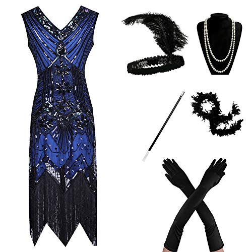 High end 1920s Flapper Dress Great Gatsby Party Evening Sequins Fringed Dresses -