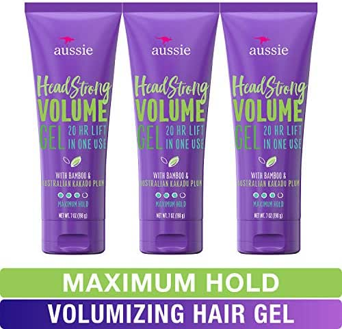 Aussie Hair Gel, with Bamboo & Kakadu Plum, Headstrong Volume, 7 fl oz, Triple Pack