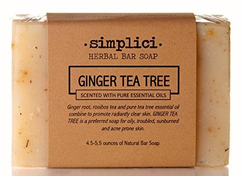 (Simplici Tea Tree & Herb Bar Soap. Palm Oil Free (Non-Vegan). All Natural Tea Tree Pure Essential Oil Scented, Exfoliating Herbs Added. Handmade, Hand Cut Bars 4.5 OZ Each (128)