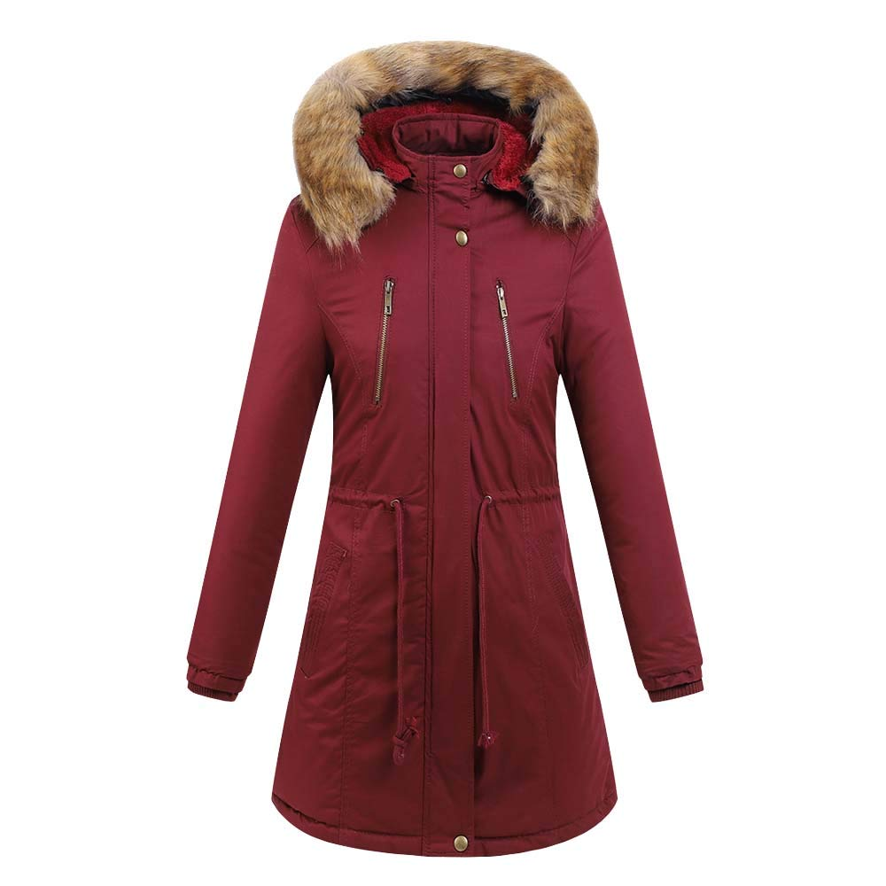 Red Women's Long Casual Cotton Hooded Plus Fur Collar Coat Plus Velvet Plus Cotton