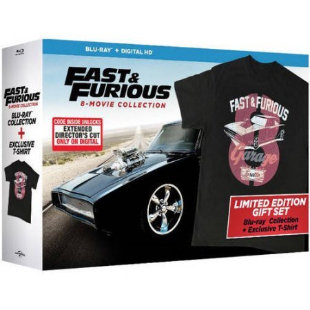 Fast & Furious: 8-Movie Collection (Blu-ray + Digital HD) Limited Edition Gift Set with Exclusive T-Shirt by