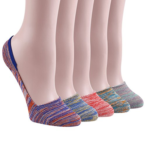 KEAZA Women Candy Cotton Socks No Show Liner Boot Sock 5-pack WY07 (C4)