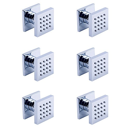 Homedec Shower Spa Brass Square Massage Jets Spray Body Shower Set, Chrome Finish(Pack of 6)