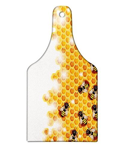 Lunarable Nature Cutting Board, Sweet Honey Bees Wax Abstract Insect of Spring Season Artwork Image, Decorative Tempered Glass Cutting and Serving Board, Wine Bottle Shape, Apricot Marigold White