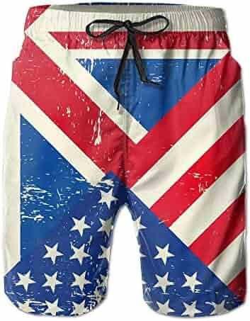 Jadetian Vintage America Spanish Flag Mens Quick Dry Swim Trunk Cargo Beach Shorts