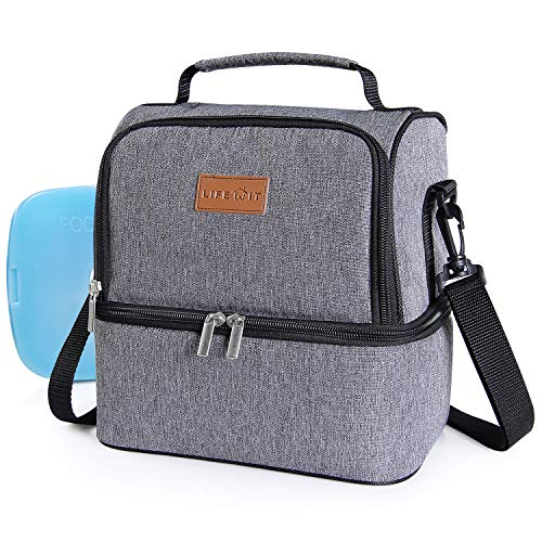 Lifewit Insulated Lunch Box Lunch Bag for Adults/Men/Women/Kids, Water-Resistant Cooler Lunchbag for Work/School/Meal Prep, Double Section, 7L, Grey [ with Blue Ice Pack ] - Classic Double Kit
