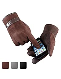 Men Touchscreen Gloves, Ulstar Warm Suede Leather Gloves Medium Size