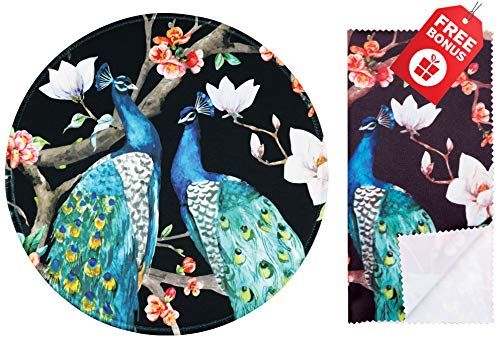 Vintage Peacock Floral Round Mouse Pad. Colorful Cute Design with Non Slip Base. Matching Microfiber Cleaning Cloth for Eye Glasses & Electronics. Cool Mouse Pad for Laptop & Travel ()