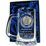 Mens 18th Birthday Gift, Engraved 18th Birthday Pint Glass Tankard with Solid Pewter Rugby Player Feature, In a Satin Lined Presentation Box, Men's Birthday Gifts