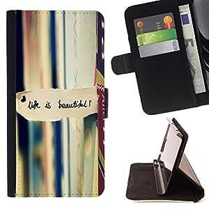 BullDog Case - FOR/Samsung Galaxy S6 / - / life is beautiful books reading text /- Monedero de cuero de la PU Llevar cubierta de la caja con el ID Credit Card Slots Flip funda de cuer