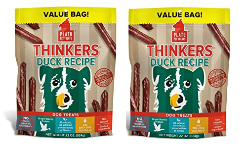 PLATO Dog Treats -Thinkers Natural Duck Sticks- 22 oz (2 Pack)