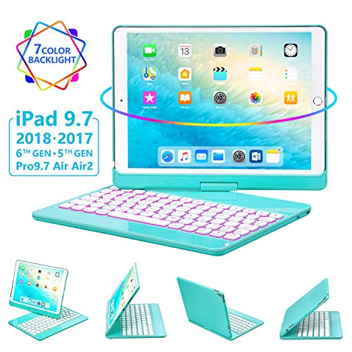 iPad Keyboard Case 9.7 for iPad 2018 (6th Gen) - 2017(5th Gen) - iPad Pro 9.7 - Air 2 & 1, 360 Rotate 7 Color Backlit Wireless/BT iPad Case with ()