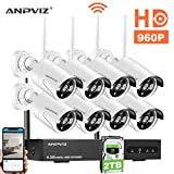8 Channel Security Camera System, 8 Channel 1080P NVR and 8pcs 960P Wireless Cameras Outdoor with 100ft (30m) Night Vision, IP66 with 2TB Hard Drive (White)