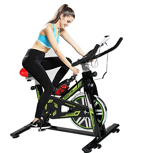 SogesHome Stationary Exercise Bike Indoor Cycling Bicycle Indoor Spinning Exercise Bike,LCD Display Bicycle Heart Pulse Trainer Bike with Belt Drive, Green and Black JS-2002-SH ()