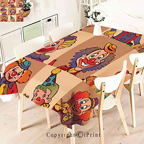 Pretty Pattern Multi Functional Table Cloth Table Cover,Clowns Illustration Entertaining Childhood Artistic Joke for Party Picnic Dining Weddings Christmas,W55 xL71,]()