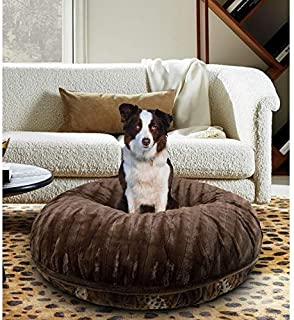 product image for BESSIE AND BARNIE Signature Wild Kingdom/Godiva Brown Luxury Extra Plush Faux Fur Bagel Pet/Dog Bed