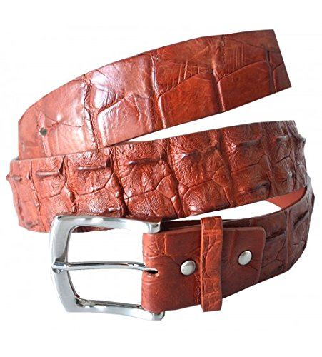 "Authentic River Crocodile Skin Men's Big Hornback Pin Belt 34""-36""Tan"