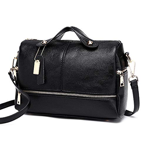 (Women Satchel Purse Handbag Tote Shoulder Crossbody Bag Top Handle Barrel Design Bag Black)