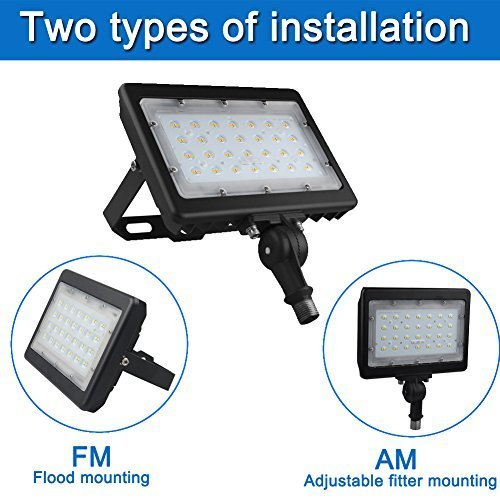 50W LED Flood Light with Knuckle & Wall Mount Bracket, 5000K Outdoor Floodlights, Super Bright 6500Lm LED Security Lighting, Waterproof Led Work Lights, IP65 Outdoor Lighting (UL-Listed)
