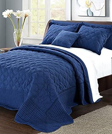 Serenta Quilted Cotton 4 Piece Bedspread Set, Queen, Dark Blue