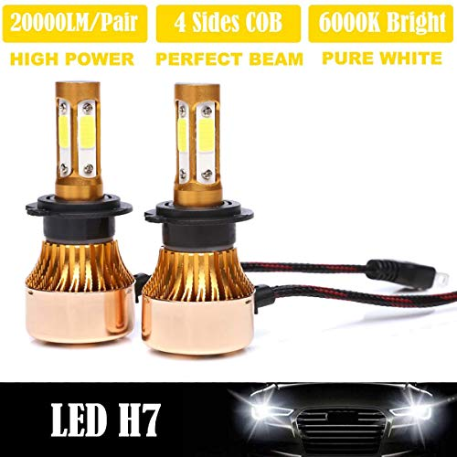 H7 4-Side LED Headlight Bulbs Car High Beam/Low Beam/Fog Lights Replacement Kit Super Bright 16000 Lumens White - 2 Years warranty