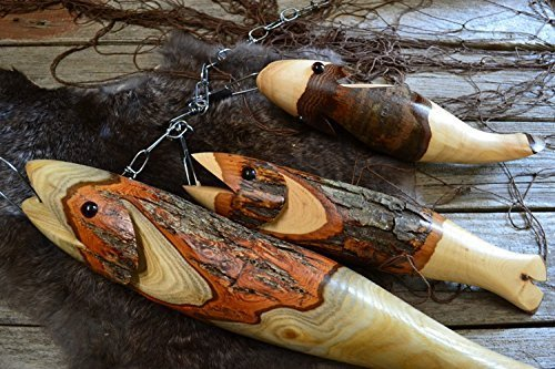 3 Wooden Fish on a Stringer by Creation Carvings (Wood Fish Carvings)