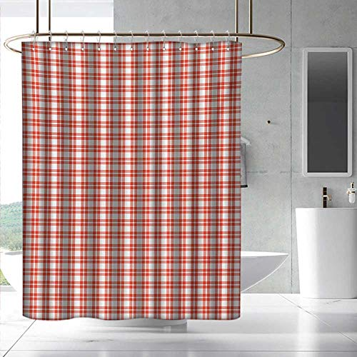 - Plaid Tablecloth Wide Shower Curtain Colored and Checkered Country Picnic Pattern Repeating Squares Stripes Modern Fashionable Pattern W55 x L84 Orange and White