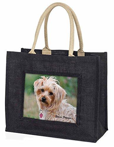 Advanta–Große Einkaufstasche Yorkshire Terrier Yours Forever Große Einkaufstasche Weihnachtsgeschenk Idee, Jute, schwarz, 42x 34,5x 2cm