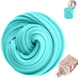 SLOUEASY Ocean Blue Fluffy Slime with Foam Beads, Non-Sticky Jumbo Floam Slime Stress Relief Toy Scented DI0Y Putty Sludge Toy for Girls and Boys(7 oz)