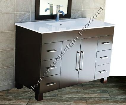 Merveilleux Solid Wood 48u0026quot; Bathroom Vanity Cabinet CMS4821 Ceramic Top Integrated  Sink + Faucet ...