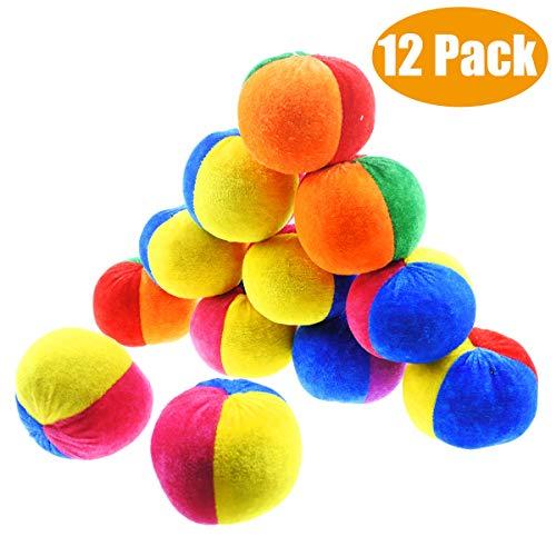 Jyongmer 12 Pack Soft Velvet Hacky Sacks - 3 Colors Footbag Bulk, Fun Carnival Toy Balls for Halloween Party Decoration and Bean Bag Toss Game