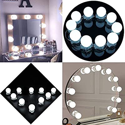 Eco-Mate Hollywood Style LED Makeup Vanity Mirror Light Kit with Cosmetic Dressing Bulb Party Decoration Dimmer Lamp Lighting Fixture Strip Corded Power Supply, 10 Bulbs, Mirror Not Included