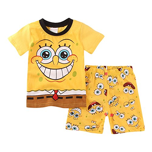 Meteora Boys Pajamas Kids Short Sets 100% Cotton Clothes Cartoon Sleepwears (Spongebob, 5-6T) -