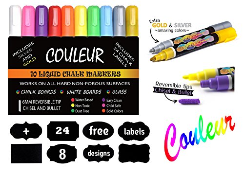 Liquid Chalk Makers Set - Neon colors with Silver and Gold Metallic – 10 Pack with FREE 24 Chalkboard Labels – Reversible Bullet and Chisel Tip! 10k Gold Set