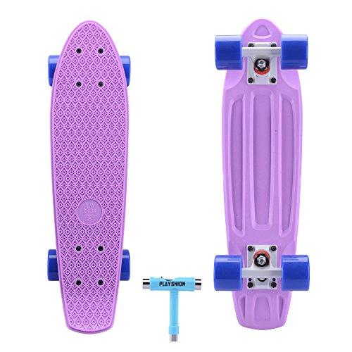 Playshion 22'' Mini Cruiser Skateboard For Beginner (With Skate Tool)