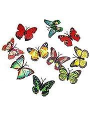 Fjäril Ledde Ljus Glödande 3d Liten Natt Ljus Färgstarka Vägg Klistermärken Dekor Artificiell Fjäril Hem Dekoration