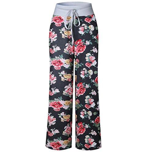 2018 Palazzo Pants,Large Size Women Print Ladies Summer Loose Wide Leg Trousers by-NEWOENSUN