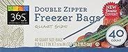 365 Everyday Value Double Zipper Freezer Bags, Quart Size, 40 Count