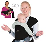 Baby Carrier Wrap Sling Ring - 2 Sling Rings Added for Breastfeeding Mom - Large Pocket - Perfect Baby Shower Gift - Woven Cotton for Newborn, Infant, Toddler - Black