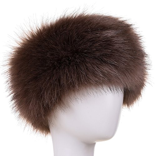 Dikoaina Womens Faux Fur Headband Winter Earwarmer Earmuff Hat Ski (Deep Khaki) by Dikoaina