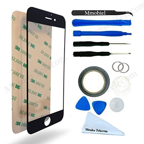 MMOBIEL Front Glass for iPhone 7 Plus (Black) Display Touchscreen incl 12 pcs Tool Kit / Pre-cut Sticker / Tweezers/ Roll of Adhesive Tape / Suction Cup / Metal Wire / cleaning cloth from MMOBIEL