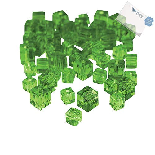 Bargain World Glass Emerald Cube Cut Crystal Beads - 4mm-6mm (With Sticky - Mm Cubes Cut 6