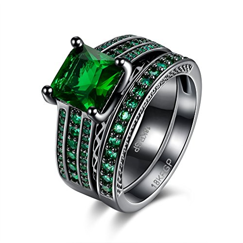 FENDINA Womens Black Gold 18K Vintage Rings Set Emerald Green Crystal Engagement Gifts Wedding - Co And Cheap Tiffany Online