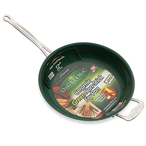 Telebrands Orgreenic 12'' Non Stick Ceramic Frying Pan With Helper Handle as Seen On TV