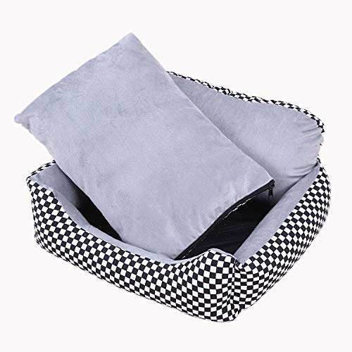 (YQSMYSW Sofa Kennel Waterproof Dog Pet Cat Bed Mat Cushion Washable Ultra-Soft Plush Fabric Soft Cover Black with White 70X50X21CM for Cat/Dog)