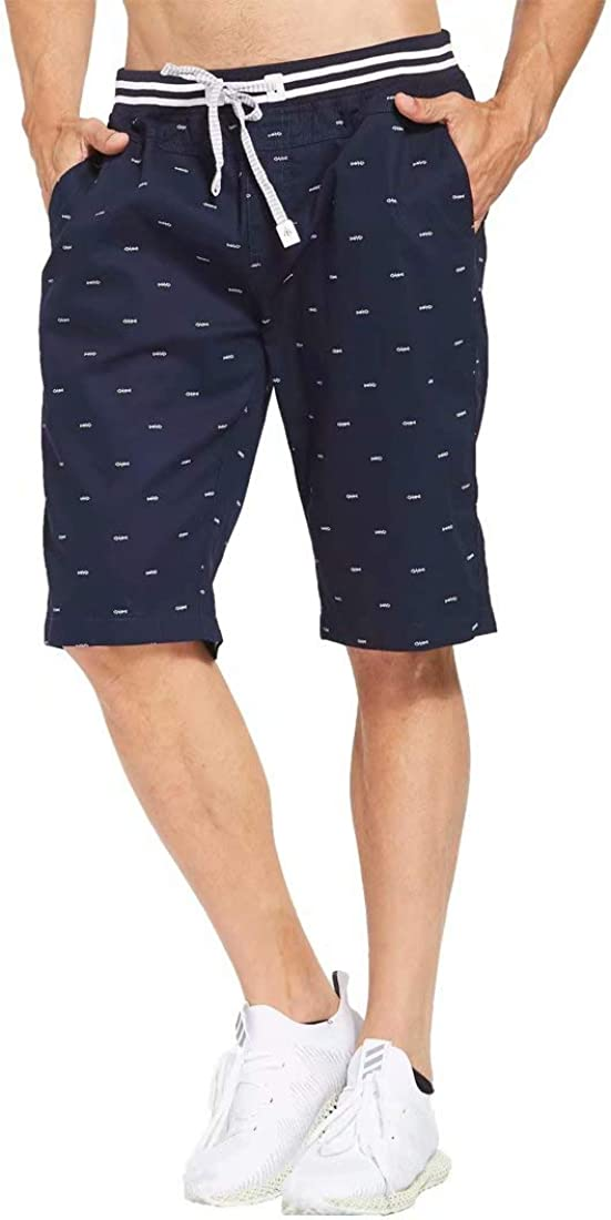 Tansozer Men's Casual Shorts Classic Fit Drawstring Summer Beach Shorts with Elastic Waist and Pockets