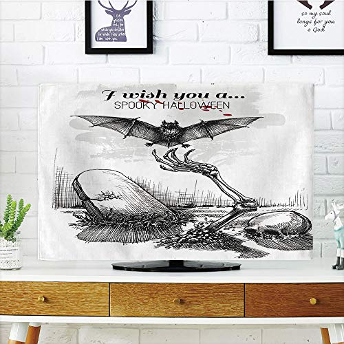 iPrint LCD TV Cover Multi Style,Halloween Decorations,Dead Skull Zombie Out Grave and Flying Bat Hand Drawn Spooky Picture,Black White,Customizable Design Compatible 60