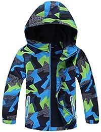 Boys Outdoor Color Block Fleece Lining Windproof Jackets with Hood