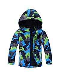 M2C Boys Outdoor Color Block Fleece Lining Windproof Jackets with Hood