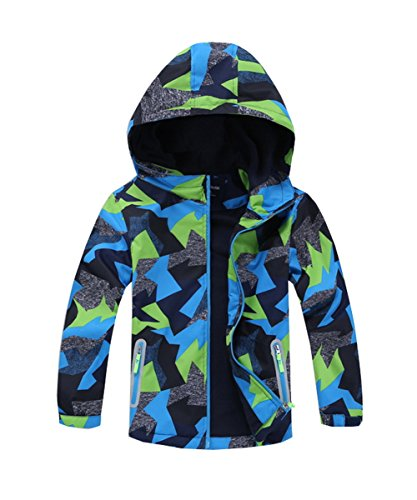 M2C Boys Outdoor Color Block Fleece Lining Windproof Jackets with Hood Green 7/8
